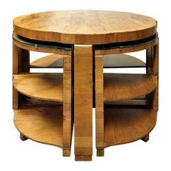 Art Deco Nest of 5 Tables in Walnut