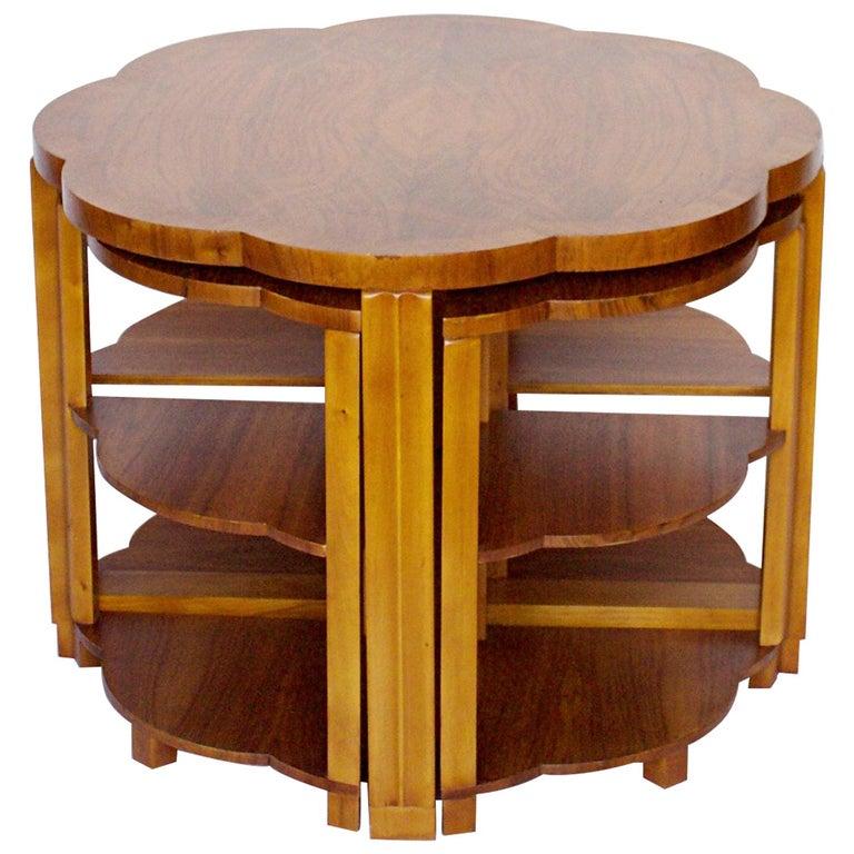 Art Deco Nest of Tables by Harry & Lou Epstein Burr Walnut, circa 1930 For Sale