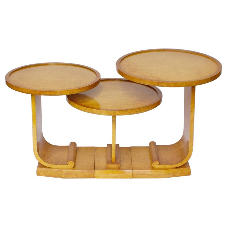 Art Deco Nest of Tables by Hille, Bird's-Eye Maple and Walnut, circa 1930