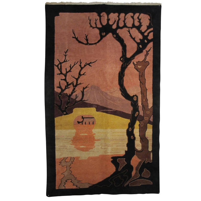 Art Deco Nichols Hand-Knotted Wool Rug or Wall Hanging Tapestry, Chinese 1920s