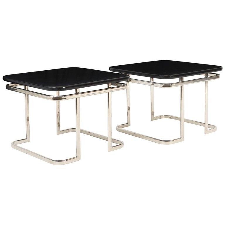 Art Deco Nickel and Lacquer End Tables, 1950s For Sale