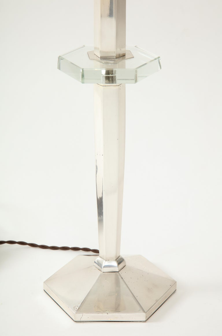 Art Deco Nickel and Crystal Candlestick Table Lamp, France, circa 1935 For Sale 2