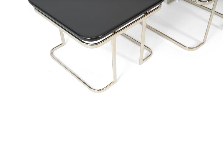 American Art Deco Nickel and Lacquer End Tables, 1950s For Sale