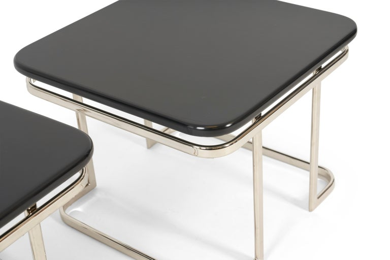 Art Deco Nickel and Lacquer End Tables, 1950s In Good Condition For Sale In Chicago, IL