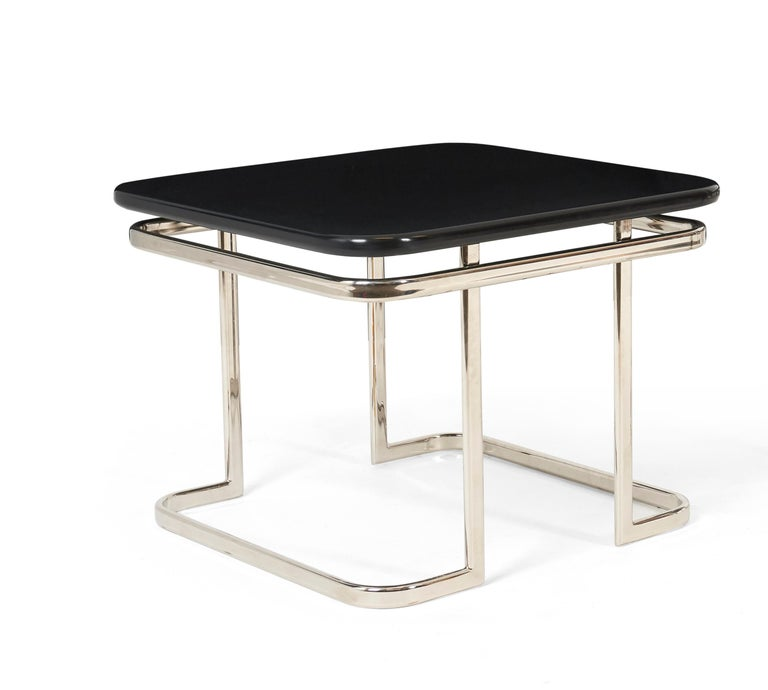 Mid-20th Century Art Deco Nickel and Lacquer End Tables, 1950s For Sale