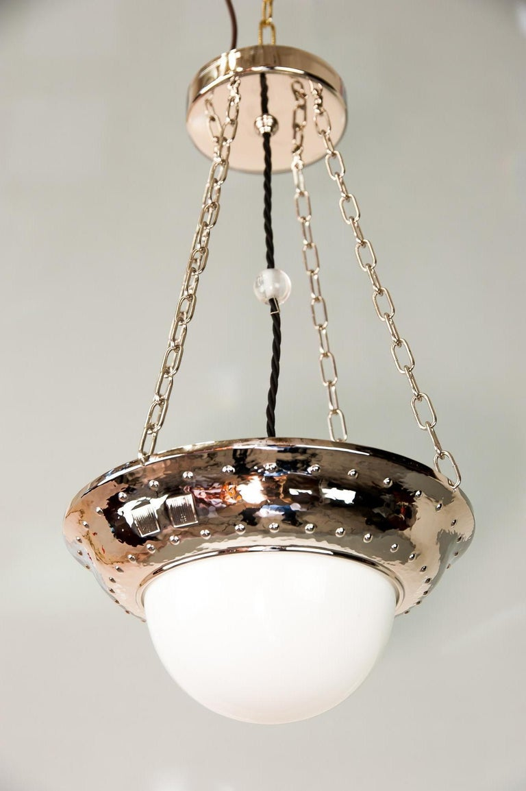 Plated Art Deco Nickel Pendant with Original Glass, circa 1920s For Sale