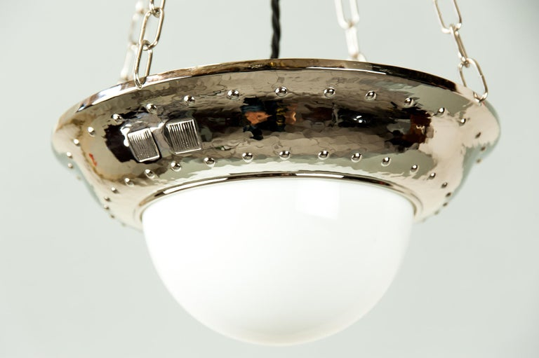 Early 20th Century Art Deco Nickel Pendant with Original Glass, circa 1920s For Sale