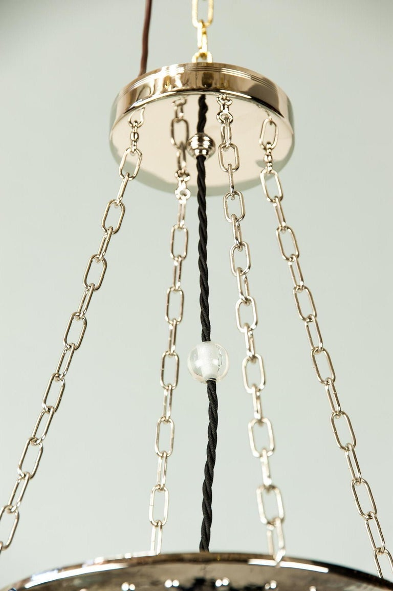Art Deco Nickel Pendant with Original Glass, circa 1920s For Sale 1