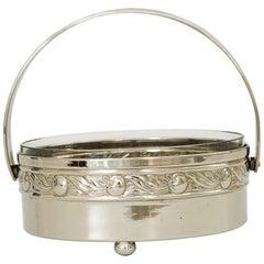 Art Deco Nickel-Plated Bowl with Original Glass Cut Glass, Vienna, circa 1920s