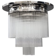 Art Deco Nickel-Plated Ceiling Lamp with Glass Sticks, circa 1920s