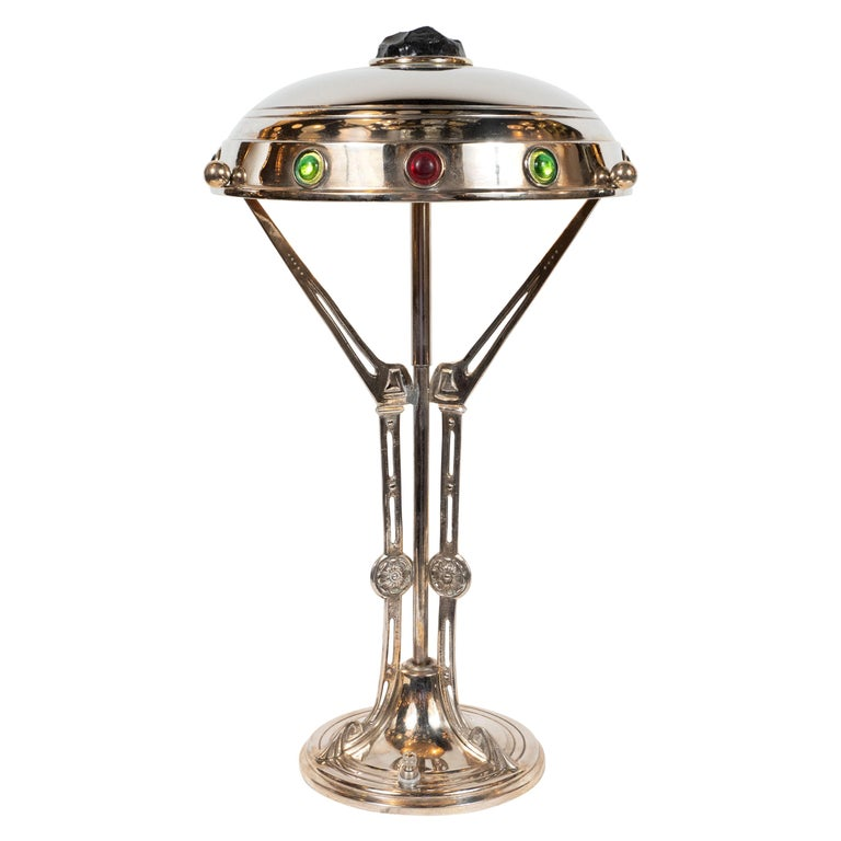 Art Deco Nickel Table Lamp with Sculptural Supports w/ Jewel Tone Glass Accents For Sale