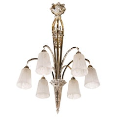 Art Deco Nickeled Bronze and Frosted Glass Six Arm Chandelier by Muller Frères