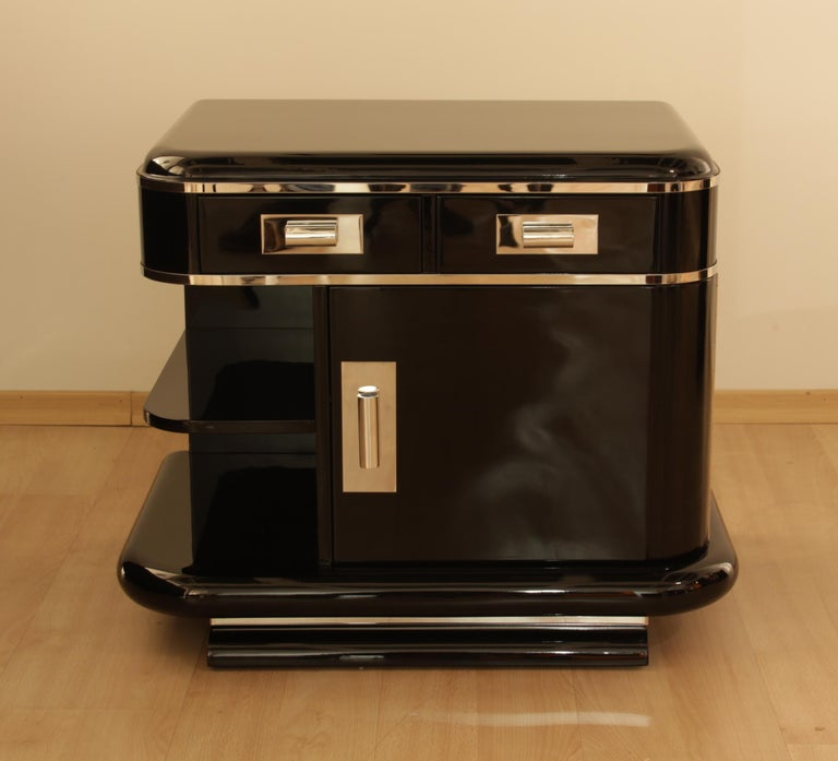 Blackened Art Deco Nightstands, Black Lacquer, France, circa 1930 For Sale