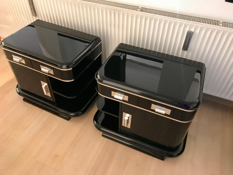 Metal Art Deco Nightstands, Black Lacquer, France, circa 1930 For Sale