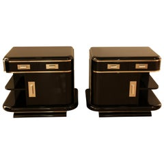 Art Deco Nightstands, Black Lacquer and Chrome, France, circa 1930