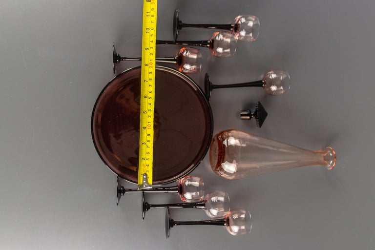 Art Deco Nine-Piece Liqueur Pink Glass Set, Decanter and Seven Glasses with Tray For Sale 11