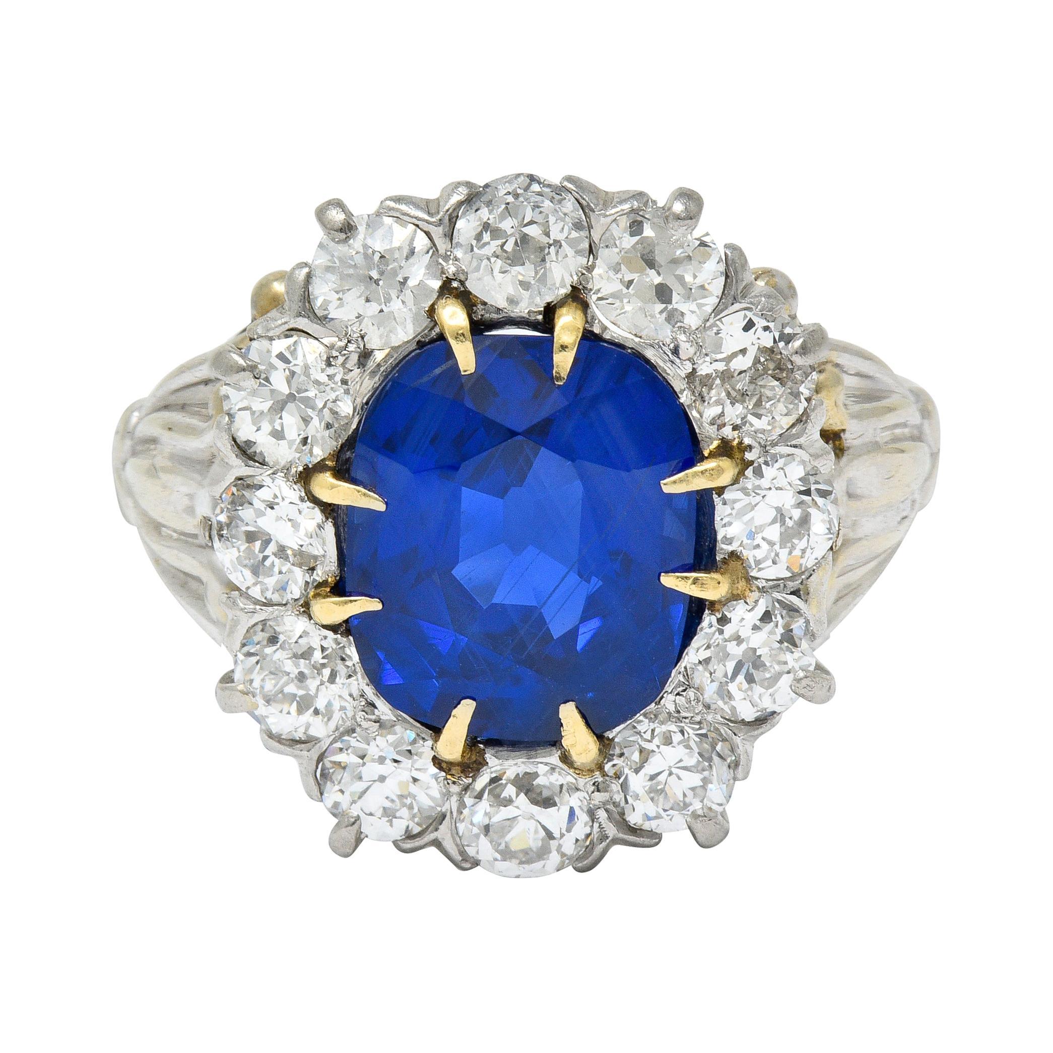 Art Deco No Heat Royal Blue Burma Sapphire Diamond 14 Karat Gold Cluster Ring