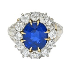 Art Deco No Heat Royal Blue Burma Sapphire Diamond 14 Karat Gold Cluster Ring