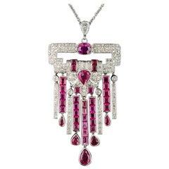 Art Deco No-Heat Ruby Platinum Diamond Necklace, GIA