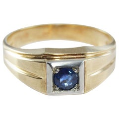 Art Deco N.O.S. Blue Stone Ring 10 Karat Solid Gold Ring, circa 1930s