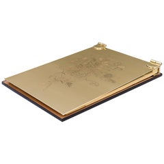 Art Deco Note Pad with Glass and Brass