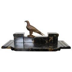 Art Deco Nouveau Bronze and Marble Bird Eagle Table Sculpture Dual Inkwell