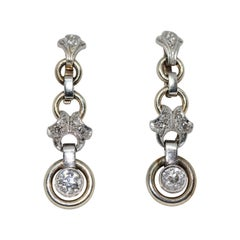 Art Deco, Nouveau Diamond Earrings, White Gold
