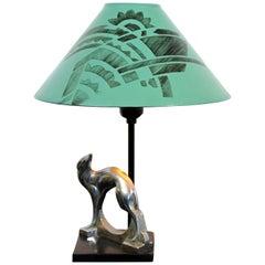 Art Deco Nouveau Frankart Signed Table Lamp Stylized Dog 1920s Orig Green Shade