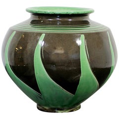 Art Deco Nouveau Herman Kahler Ceramic Hand Thrown Signed Vase Danish