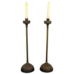 Art Deco Nouveau Pair of Tall Metal Candle Holders Tiffany Style