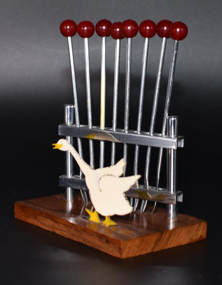Art Deco Novelty Cocktail Stick Set in Bakelite and Chrome, circa 1930 For Sale 2