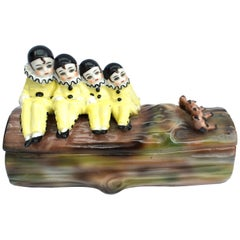 Art Deco Novelty Pierrot Ceramic Trinket Box, 1930s