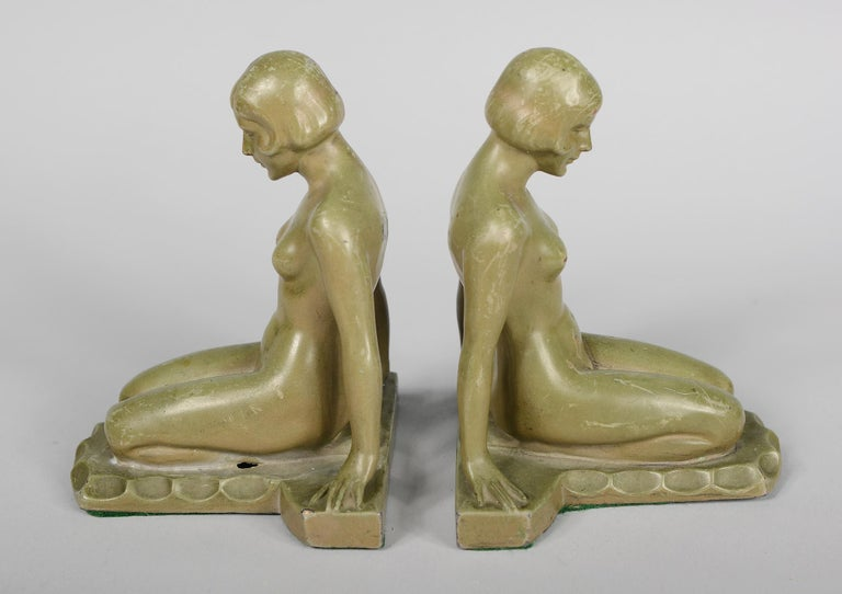 American Art Deco Nude Bookends Style of Max Le Verrier For Sale