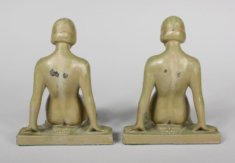 Art Deco Nude Bookends Style of Max Le Verrier In Good Condition For Sale In San Mateo, CA