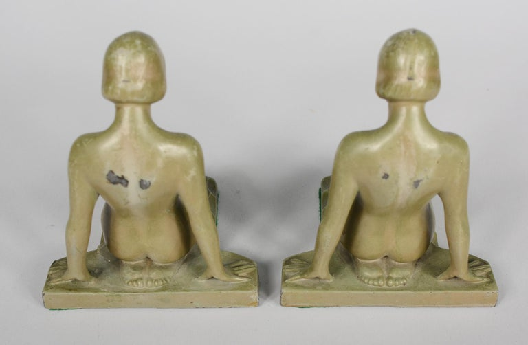 Early 20th Century Art Deco Nude Bookends Style of Max Le Verrier For Sale