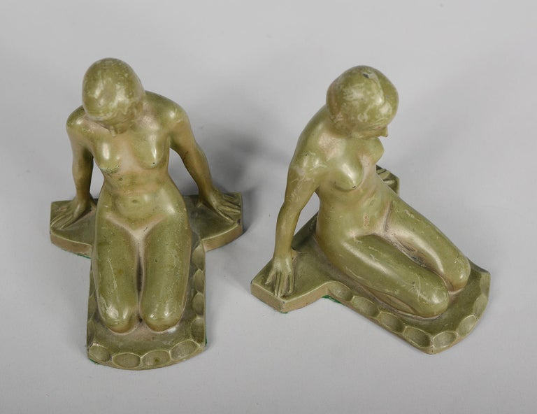 Spelter Art Deco Nude Bookends Style of Max Le Verrier For Sale