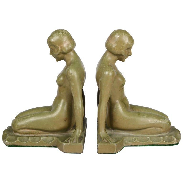 Art Deco Nude Bookends Style of Max Le Verrier For Sale