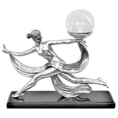 Art Deco Nude Lamp in the Style of Artist A.Ouline Bronze Silvered Patina