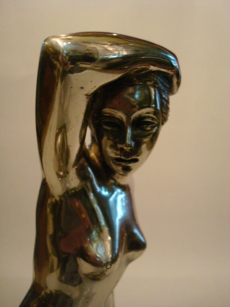 French Art Deco Nude Woman Bronze Sculpture For Sale