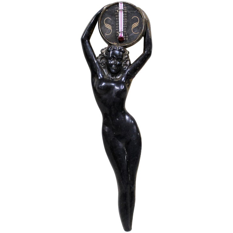 Art Deco Nudy Lady Thermometer For Sale