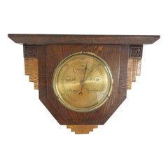 Art Deco Oak and Brass Aneroid Barometer England, 1930 973