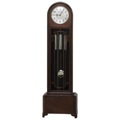 Art Deco Oak and Rosewood Longcase Clock by Enfield