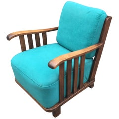 Art Deco Oak Armchair in the Style of Maxime Old, circa 1940