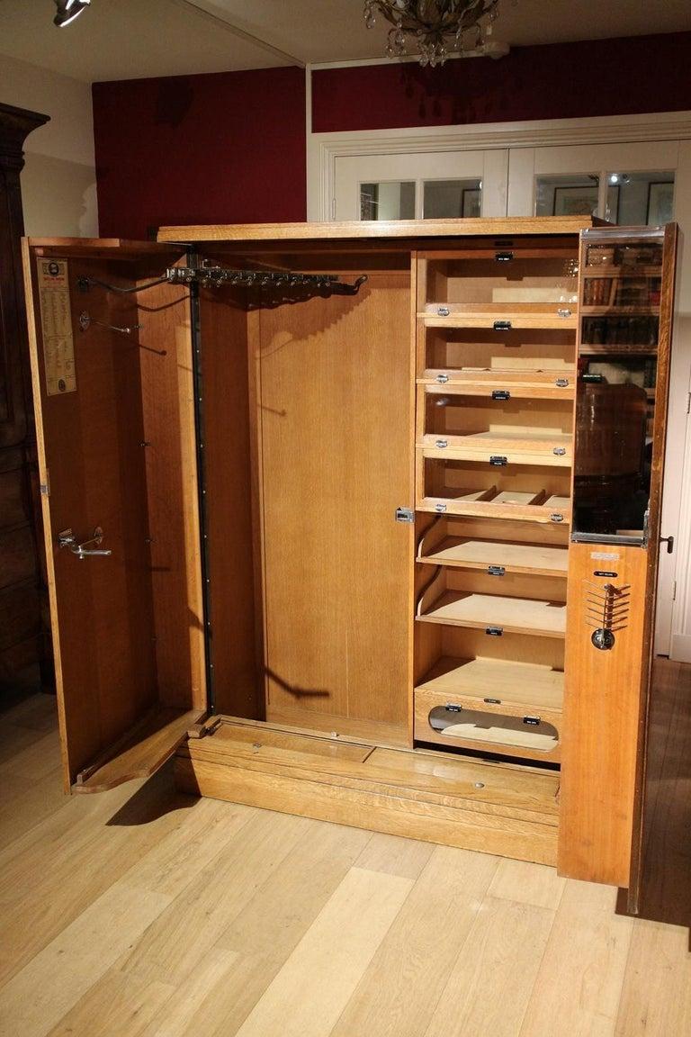 British Art Deco Oak Compactom Wardrobe
