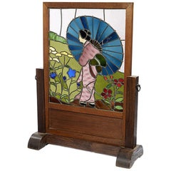 Art Deco Oak Framed Screen Depicting a Japanese Figure in a Garden Setting