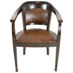 Art Deco Oak Leather Armchair