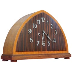 Art Deco Oak, Macassar & Mahogany Mantle or Desk Clock w. Chrome Metal Numerals