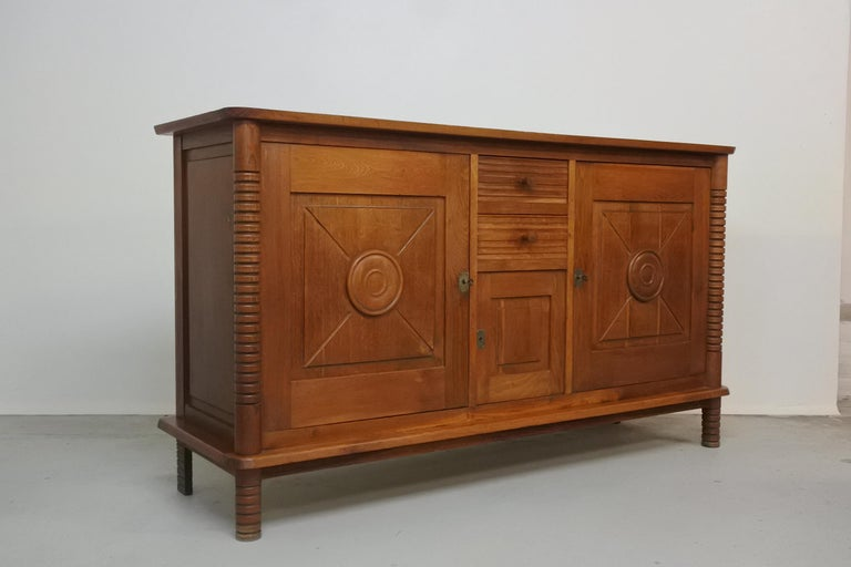 Art Deco Oak Sideboard by Charles Dudouyt, France, 1930s For Sale 5