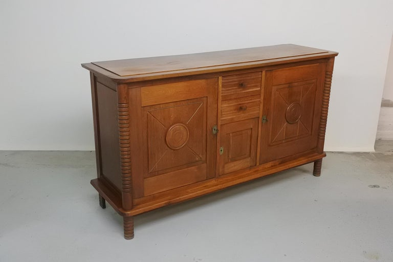 Art Deco Oak Sideboard by Charles Dudouyt, France, 1930s For Sale 6