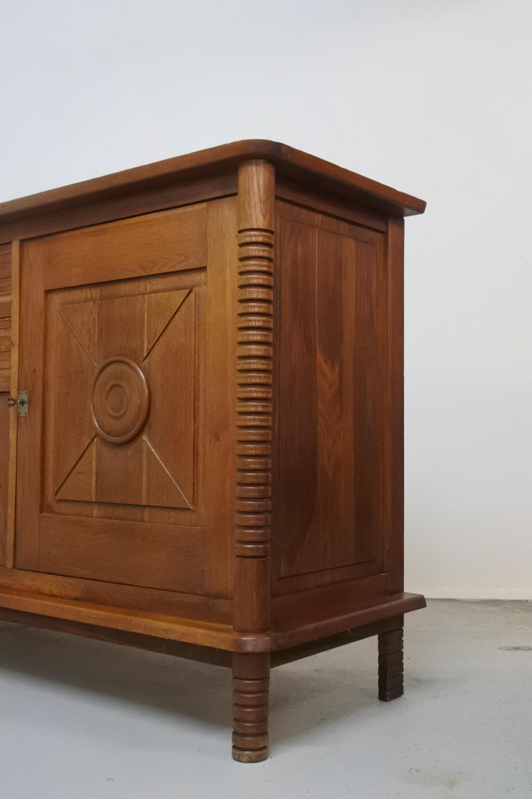 Art Deco Oak Sideboard by Charles Dudouyt, France, 1930s In Good Condition For Sale In La Teste De Buch, FR